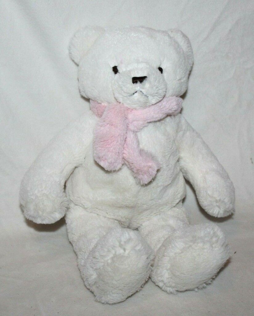 NAP N-A-P Brookstone White Soft Fluffy Stuffed Teddy Bear Pink Scarf 15  EUC HTF
