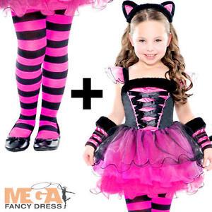 Image is loading Pink-Cat-Ballerina-Tights-Girls-Fancy-Dress-Halloween-  sc 1 st  eBay & Pink Cat Ballerina + Tights Girls Fancy Dress Halloween Animal Child ...