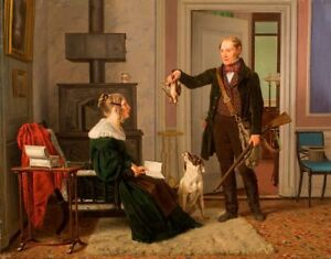 oil-painting-on-canvas-034-a-hunter-shows-his-wife-the-proceeds-of-hunting-034