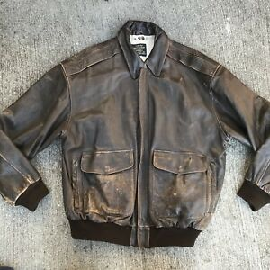 c539d85e741 AVIREX Type A-2 LEATHER ARMY Air Force FLIGHT Bomber JACKET XL ...