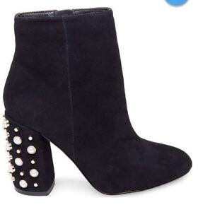 bbaabaac44e Details about Steve Madden Black Ankle Boots Pearl & Stud Embellished Heel  Sz 9.5 NEW