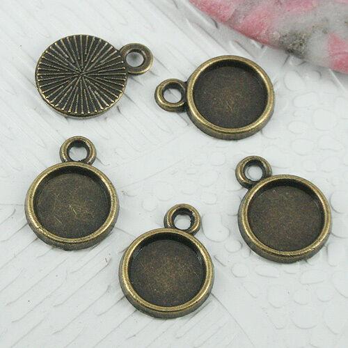 32pcs antiqued bronze color round cabochon settings connector EF0669
