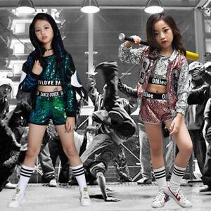 23bcadb89 Street Dance Wear Costume Girls Performance Sequins Modern Kids Hip ...