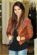 Ladies TOP GUN Tan BOMBER Pilot Aviator Real Lambskin Leather Women's Jacket
