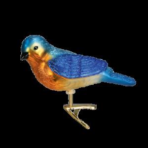 Old World Christmas WESTERN BLUEBIRD (18043)N Glass Ornament w/ OWC Box