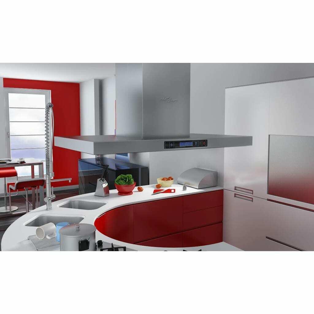 vidaXL Campana Extractora Cocina Isla Acero Inóxidable Pantalla LCD Extractor