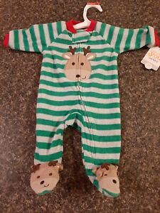 Carters Stiped Reindeer Christmas one piece Feet pajamas NEW