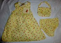 Strawberry Fair Yellow Dress 12 M Purse & Diaper Cover 3 Pieces Outfit