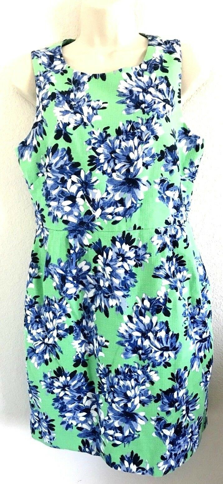 J. CREW Photo Green Sheath Dress Floral Size 10 HTF 100% Cotton Sleeveless
