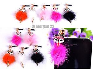 Fluffy-Ball-Fur-Fox-Mobile-Ear-phone-Socket-Dust-Cover-Charm-Choice-of-Colour