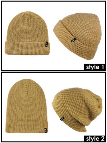 New C.C Unisex Plain Waffle Knit Two Way Cuff /& Slouch Skull Cap CC Beanie Hat