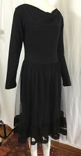 """Lunn by Lilith """"Candeur Carbone Robe"""" Black Dress Tiered Tulle NWT Paillette 1/S"""