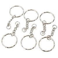 10  50pcs 25mm Keyring Blanks Silver Tone Key Chains Findings Split Rings 4 Link