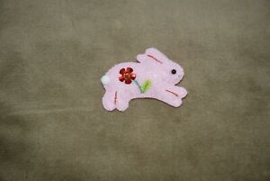 Hand-made-Rabbit-Bunny-Felt-Sequined-Brooch-100-CHARITY