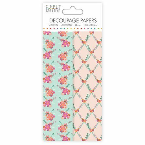 Flowers and Foliage Deco Mache x 4 Tissue Patch Paper Sheet Simply Creative