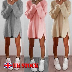 Winter-Women-Ladies-Side-Zip-Long-Sleeve-Pullover-Warm-Sweater-Jumper-Mini-Dress