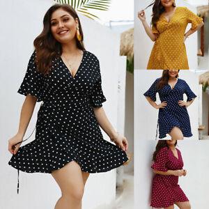 Details about Womens Plus Size Short Sleeve Dresses V-Neck Polka Dot Wrap  Holiday Short Dress