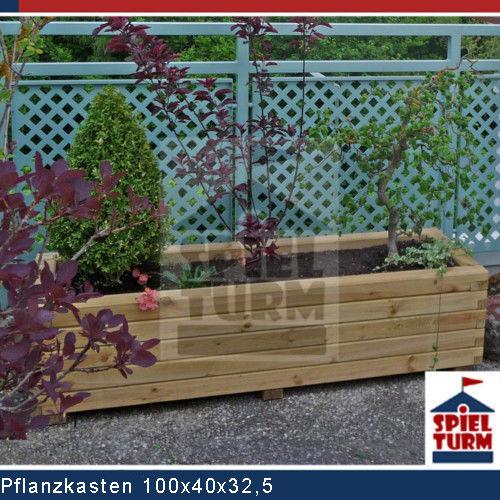 HOQ Pflanzkasten 100 cm Pflanztrog Pflanzkübel Holz Garten Hochbeet