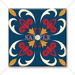 Image Is Loading Ceramic Tile Blue Red Yellow Vintage Design