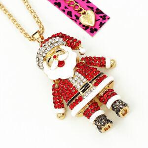 Betsey-Johnson-Crystal-Rhinestone-Enamel-Santa-Claus-Pendant-Chain-Necklace-Gift