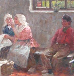 """Müller-Massdorf Julius 1863-1933 Düssdeldorf GENRE """"Das Geheimnis"""" Interieur"""