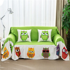 Grempy Owl Canvas SlipCover Sofa Cover TauL Protector for 1 2 3 4 seater O