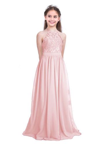 Lace Chiffon Flower Girls Wedding Pageant Formal Jr Bridesmaid Long Prom Dress