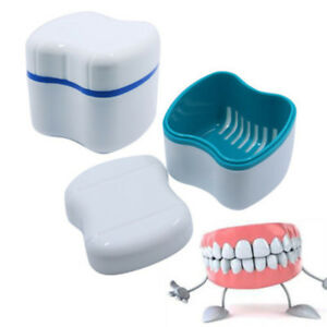 Denture Container Dental Tooth Storage Box Bath Case False Teeth