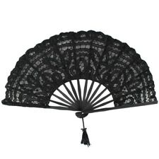 B478 Handmade Cotton Lace Folding Hand Fan for Party Bridal Wedding Decoration