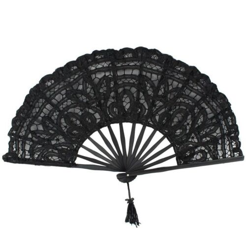 Black Handmade Cotton Lace Folding Hand Fan for Party Bridal Wedding Decoration