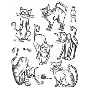 TH-Cling-Rubber-Stamp-Set-7-X8-5-Crazy-Cats-Rrp-35-20-SALE-Limited-time-only