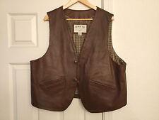 Mens Orvis Brown Leather Vest Size XL ~ EXCELLENT