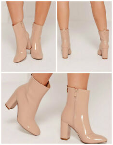 981aca777c7 Image is loading MISSGUIDED-Patent-Heeled-Ankle-Boots-IN-NUDE-COLOUR-