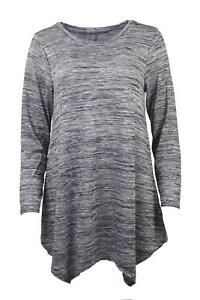 NEW-ex-Evans-Grey-Blue-Marl-Swing-Jersey-Tunic-Top-Long-Sleeve-Size-14-30-32