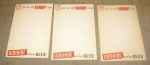 4-Vintage-SUNSHINE-PREMIUM-BEER-Unused-Memo-Pad-Sheets-Get-on-the-Sunny-Side