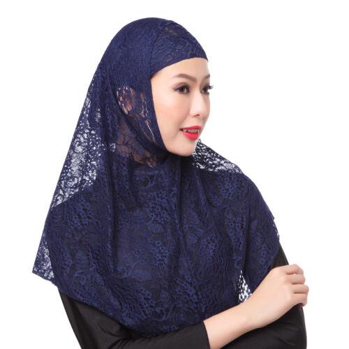 Muslim Women Lace Hijab Under Scarf Inner Cap Hat Ninja Full Cover Headwear 2PCS
