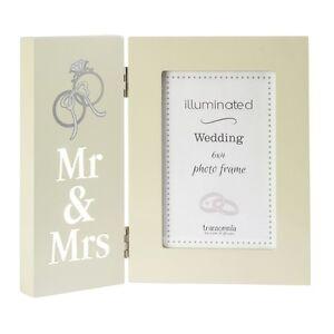 Beleuchtet Mr Mrs Hochzeit Bilderrahmen 6x4 Aufleuchtend Bild