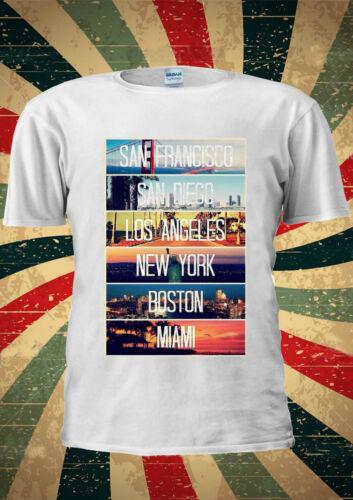San Francisco Diego de Los Angeles New York Miami T Shirt Hommes Femmes Unisexe 1600