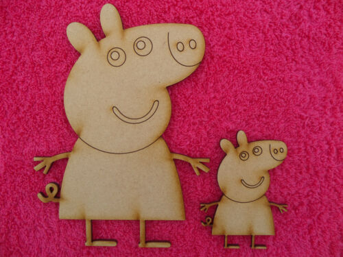 Wooden Mdf Peppa Pig novelty embellishment craft engraved Blank  18cm Tall