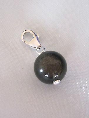 925 sterling silver natural 10mm BLACK OBSIDIAN gemstone clip on charm pendant