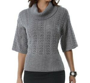 Details about monroe and main pointelle elbow sleeve sweater gray new