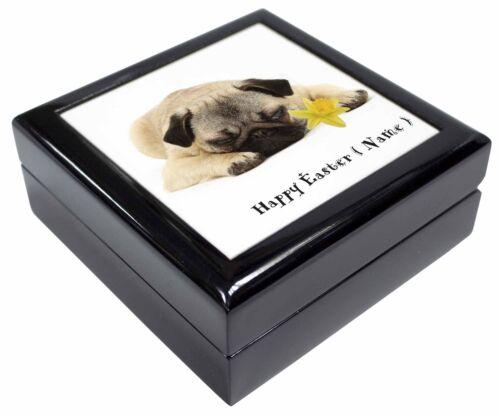 AD-P92DA2JB Personalised Name Pug Dog Keepsake//Jewellery Box Christmas Gift