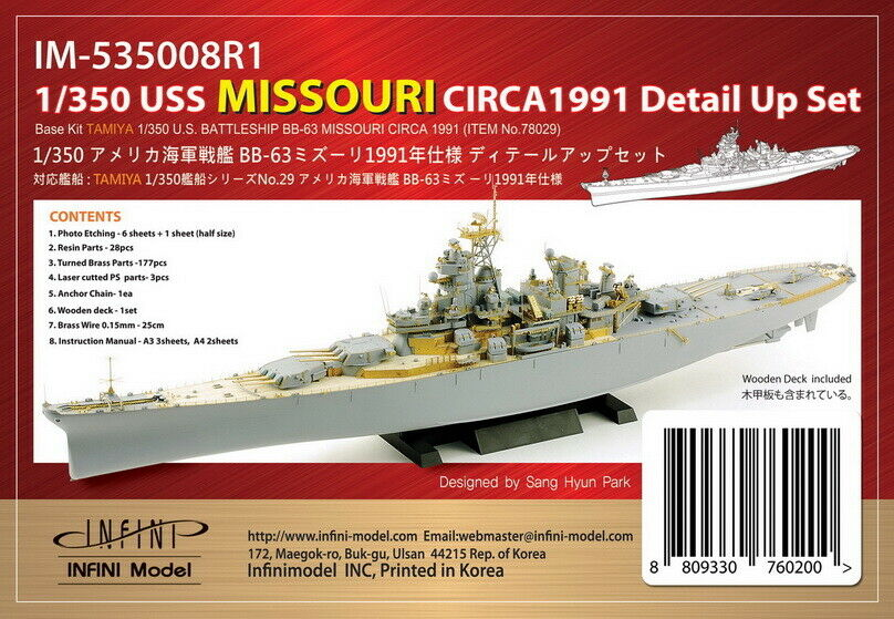 Infini 1  350 USS Missouri Circa 1991 Detaljuppsättning för Tamiya kit