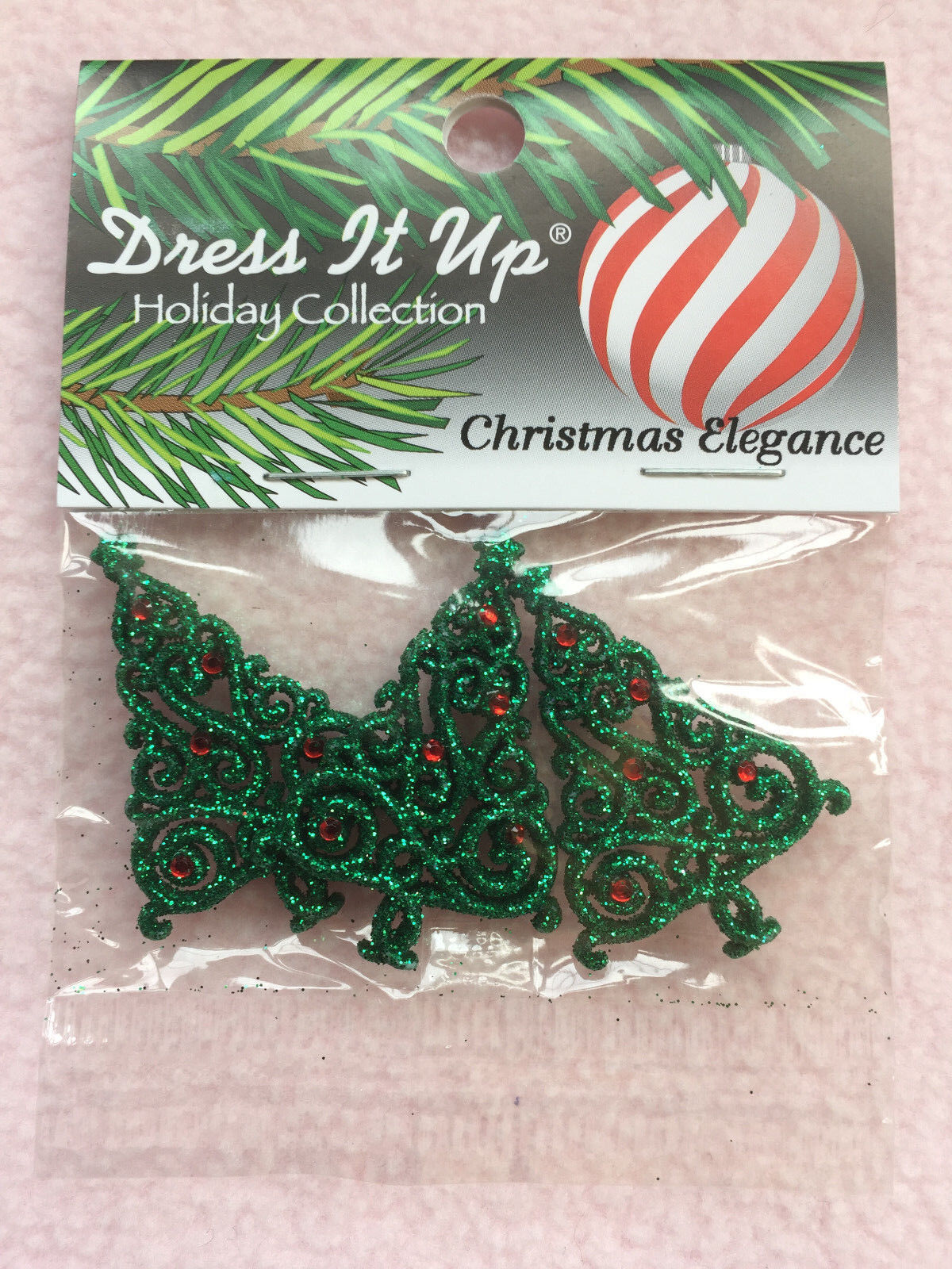 DRESS IT UP Embellishments Christmas Elegance 9074 Flatbacked Trees