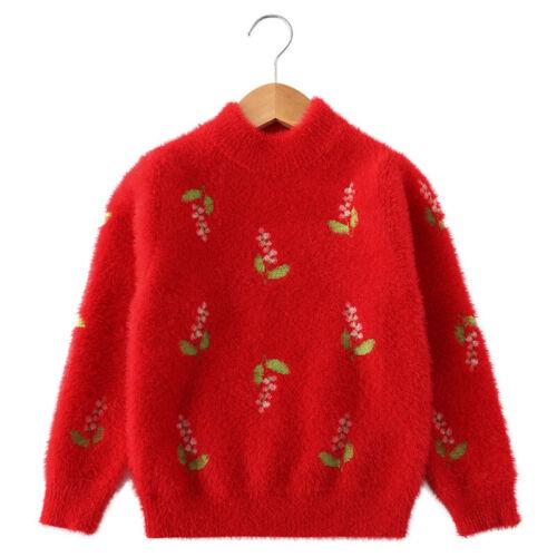 Kinder Mädchen Strickpullover 2020 Herbst Langarm Blume Kinder Pullover