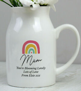 PERSONALISED ' BLOOMING LOVELY ' RAINBOW CERAMIC FLOWER VASE JUG GIFT FOR HER