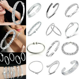 Women-Jewelry-Bangle-Chain-Bracelet-925-Sterling-Solid-Silver-Crystal-Cuff-Charm
