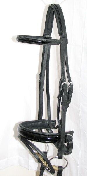 FSS cuirs brillant noir noir brillant de jais confort rembourré sondage dressage bridle rênes nouveau 27c5ca