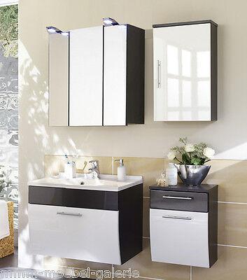 Badezimmer Badmöbel Spiegelschrank Waschbeckenunterschrank Hochglanz SANTANA
