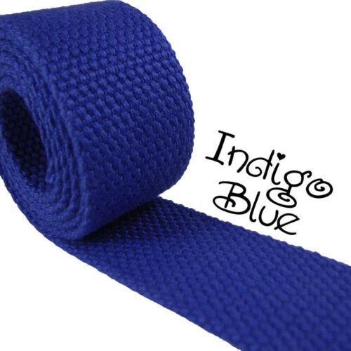 "1 Yard Indigo Blue 1.25/"" Medium Heavy Weight Cotton Webbing"